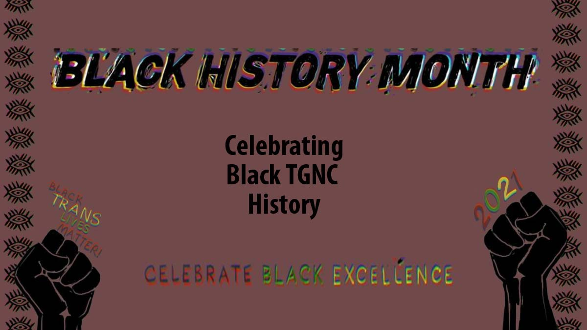 """Brown background with graphic design borders and black fists with words """"Black History Month Celebrating Black TGNC History Celebrate Black Excelllence"""""""