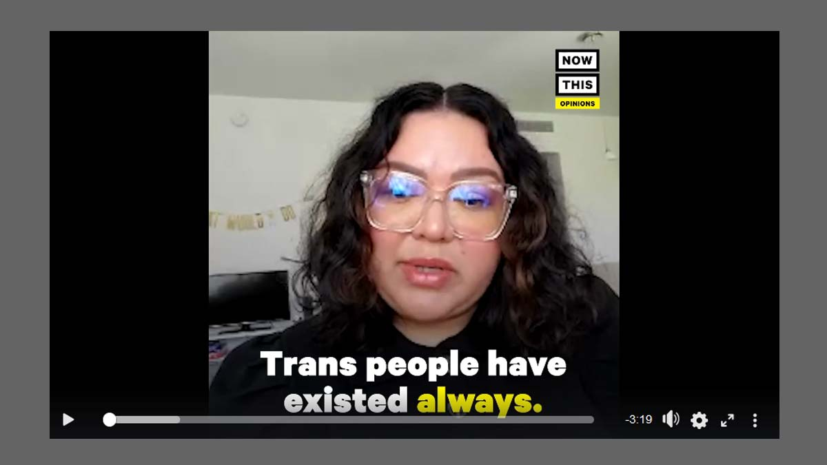 "Profile photo of Lizette Trujillo against black background with text ""Trans people have existed always."""