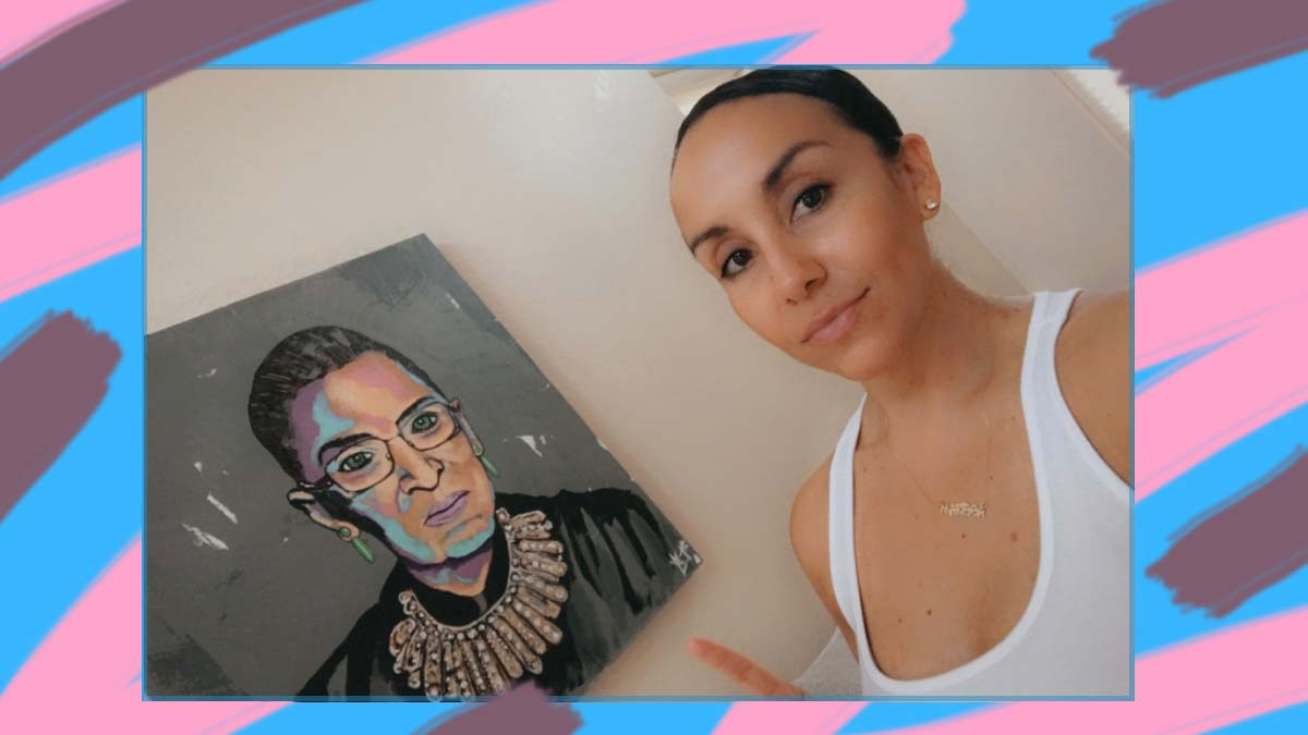 Photo of Marissa Sites and painting of Ruth Ginsberg on blue background with pink and purple paint-like streaks.