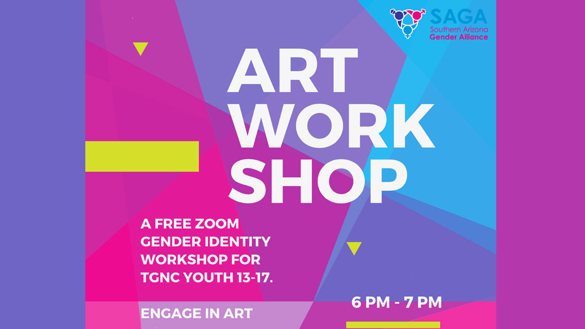 Art Work Shop - A free Zoom gender identity workshop for TGNC Youth 13 -17. Engage in art. 6 - 7 pm