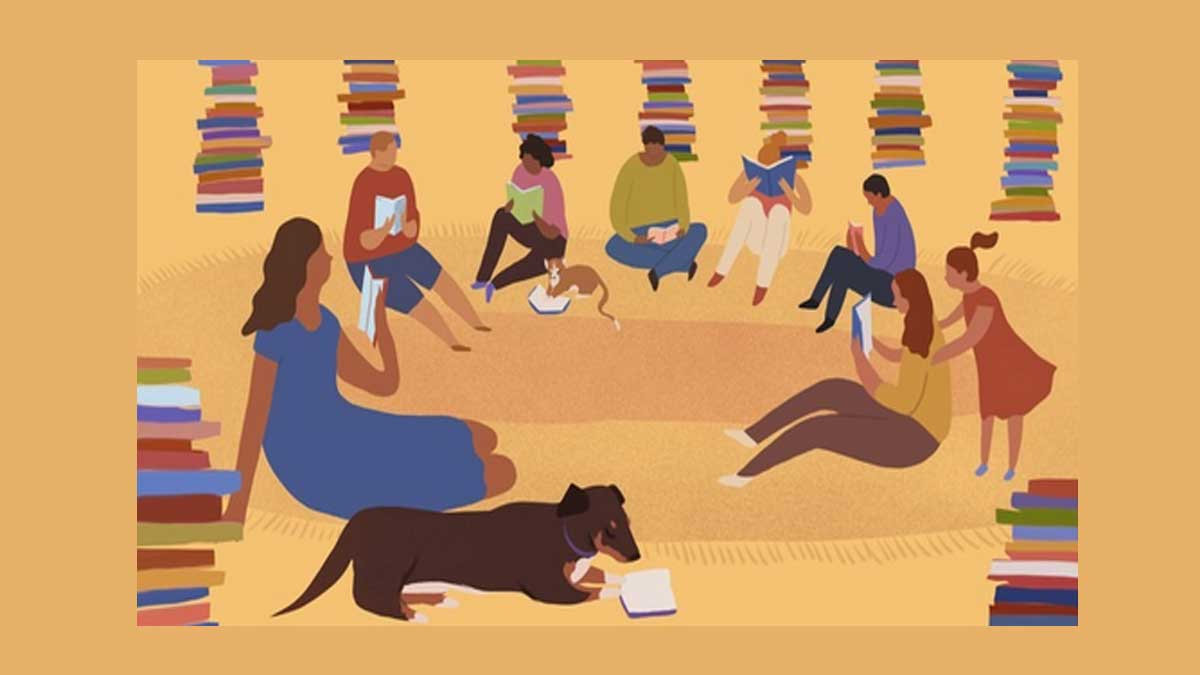 Graphic illustration of people reading and pile of books