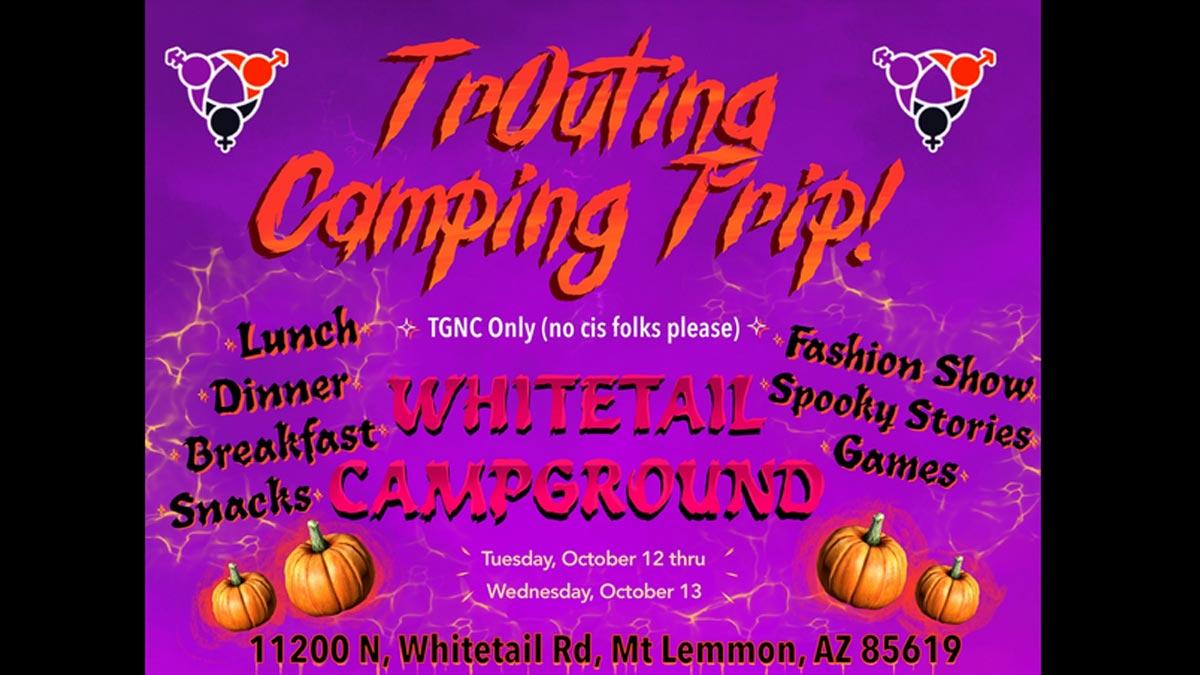 """Electric purple fading down into pink cloudy background. Title in electric dark and light orange font reads: """"TrOuting Camping Trip!"""" The SAGA logo icons frame the title and are in purple, orange, and black. Below to the left reads: """"Lunch, Dinner, Breakfast, Snacks"""" and to the right reads: """"Fashion Show, Spooky Stories, Games"""". In between those lists reads: """"TGNC Only (no cis folks please)"""" then """"Whitetail Campground"""". Below that in center reads """"Tuesday, October 12 thru Wednesday, October 13"""" which is fra"""