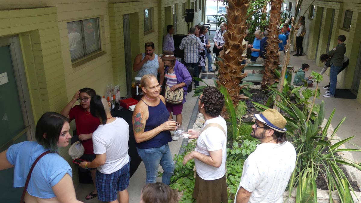 Wide shot of the open house festivities
