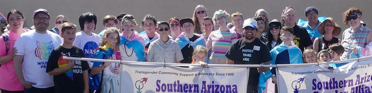 SAGA community members carry banner in Tucson 2019 Pride Parade